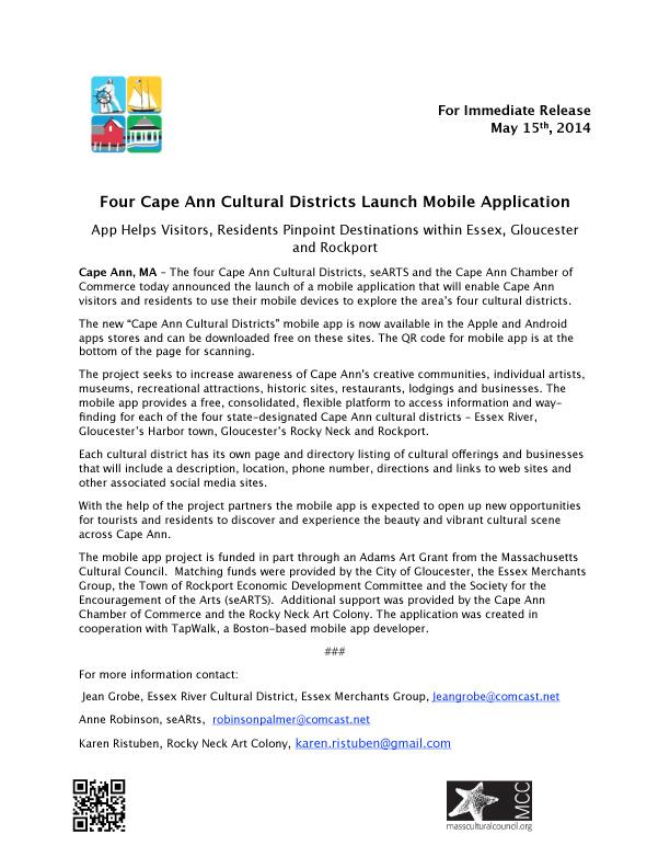 cape ann cultural districts mobile app launch