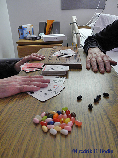 "My roommate here at the rehab plays cribbage once a week with his friend, a facility volunteer. They play for fun and share gourmet jelly beans during the game. Cribbage was a popular card game in 17th century England, where it's the only game allowed to be played in pubs for money. The US Navy Submarine Service has long called cribbage its ""unofficial pastime."" I've got to try it..."