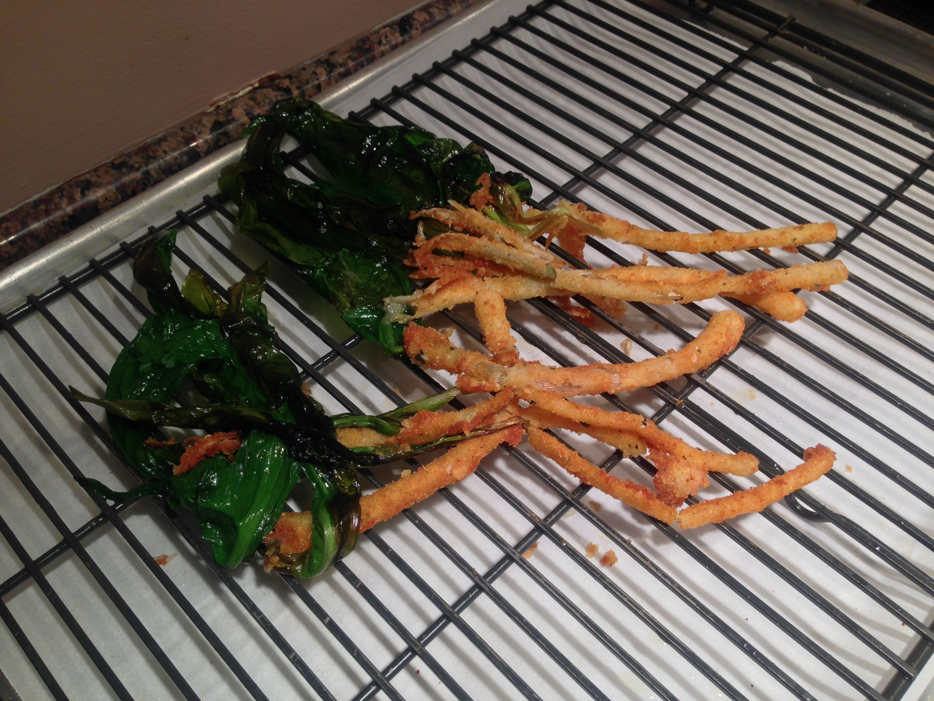 Greens attached and fried