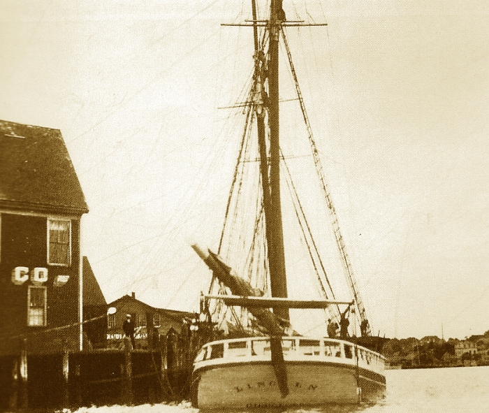 """Bill Hubbard looked into the Lincoln after my GMG post of 5/16/14 (https://goodmorninggloucester.wordpress.com/?s=schooner+lincoln). He discovered thr following information and photo: """"I found that the schooner in the picture was the three-masted Lincoln. She was built in Essex by Arthur Dana Story and launched in 1920. She sailed out of Gloucester as a coasting schooner under several captains but continued to be owned by A.D. Story. She carried cargo of coal, lumber and potatoes from Maine and the Canadian Maritimes to Gloucester, New York and Boston."""