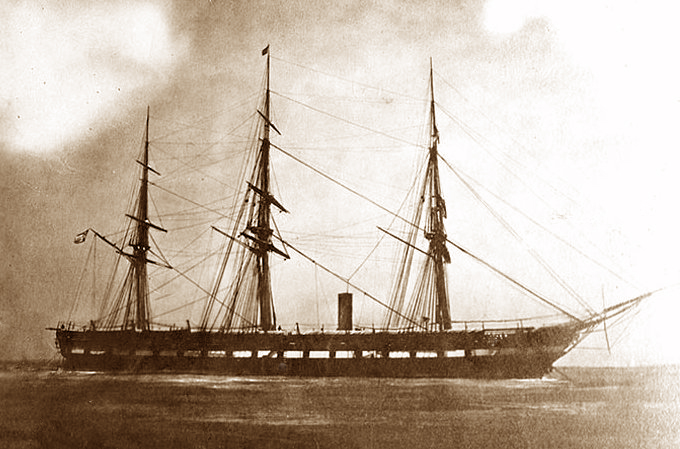 Frigate USS Wabash was built in 1855 as a steam and sail powered top of the line fighting ship. The 301 foot long Wabash carried 50 guns. She's pictured in this 1863 photo during Civil War duty.