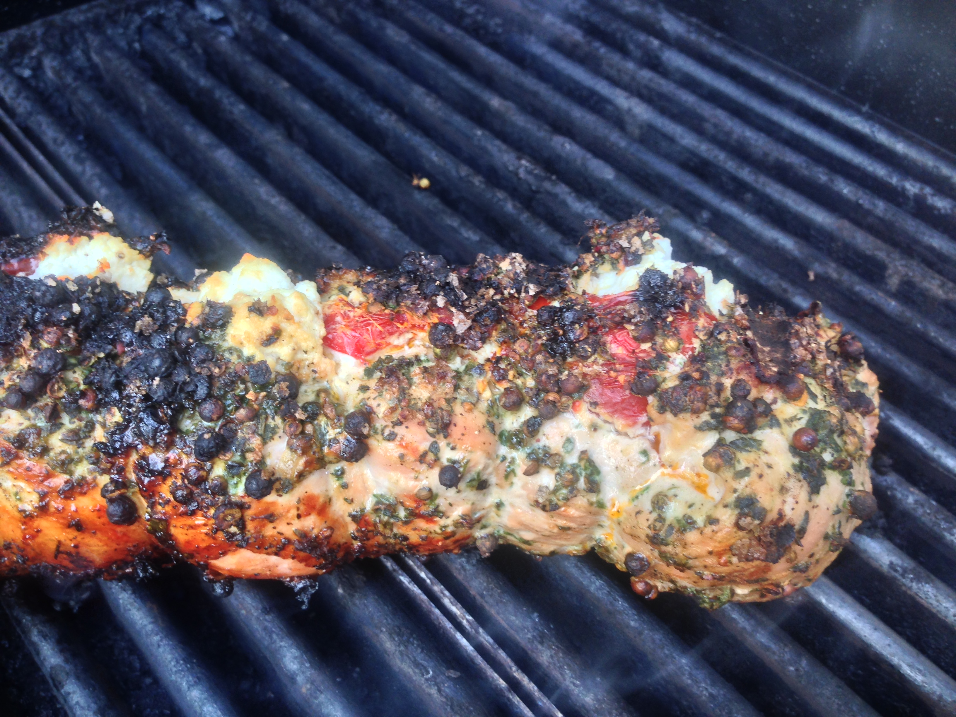 Peppercorn Crusted Pork Tenderloin Stuffed with Goat Cheese and Sun ...