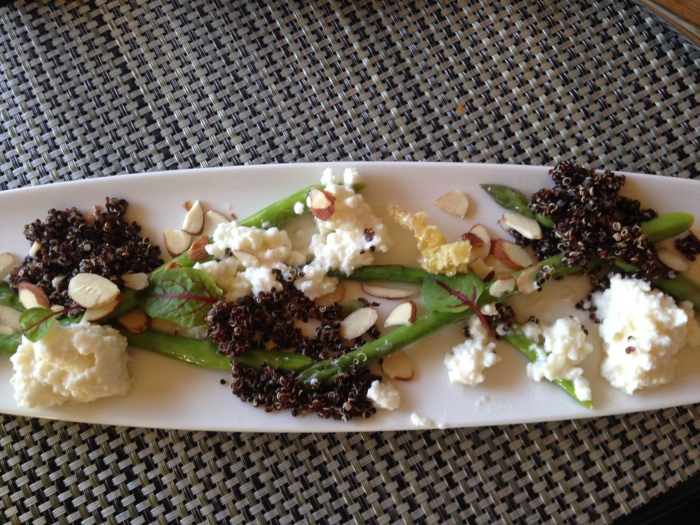 Creamy Ricotta Cheese, Asparagus, Honeycomb, Almonds, and Quinoa