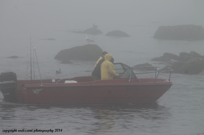 July 16, 2014 Red Boat in the fog going through the canal
