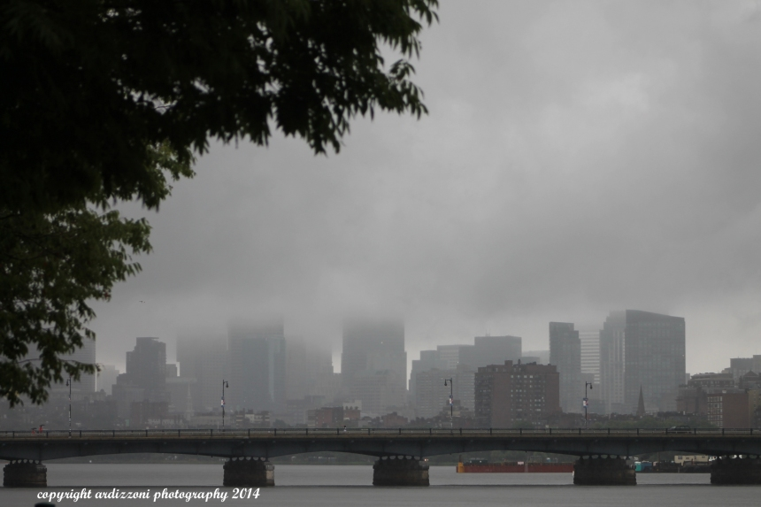July 4, 2014 foggy Boston with the firework barge in the background