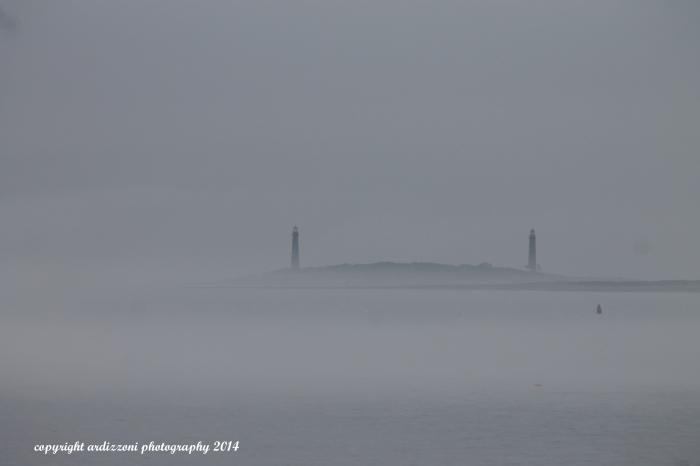 July 4, 2014 Foggy Twin Lighthouse