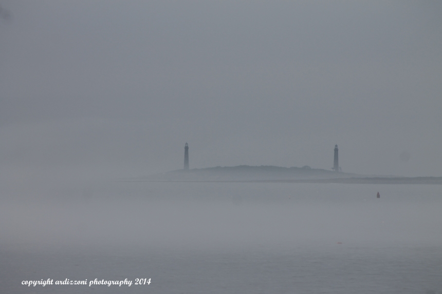 July 4, 2014 Foggy Twin Lighthouse