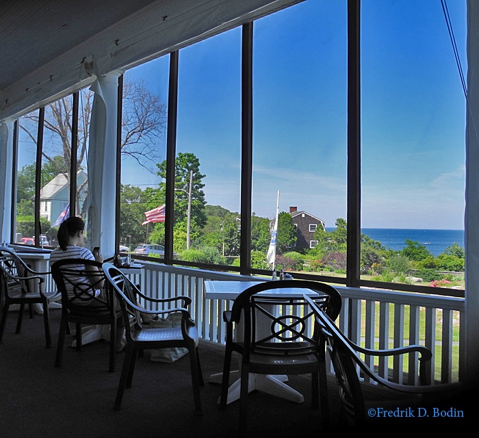 Part of the restaurant at the Emerson Inn is called the Veranda, a screened in dining area with adjoining open porch with rocking chairs. It all overlooks the Atlantic Ocean.
