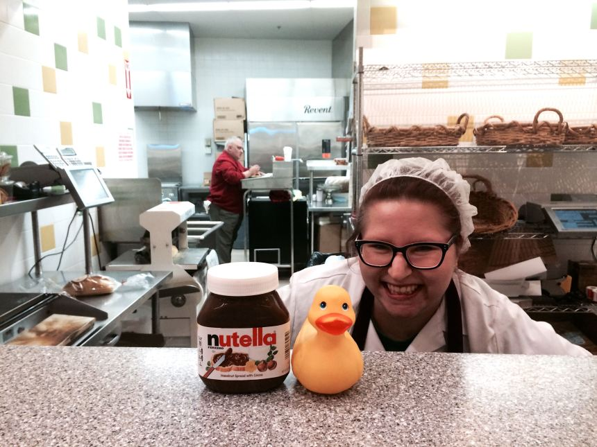 OMG all is right with the world. Rubber Duck showing off the Nutella we scored at Market Basket today  at the bakery with Anna Benedetto. Also loaded up on Mrs. Renfro's Jalepeño Green Salsa
