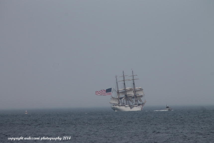 August 31, 2014 Coast Guard Eagle leaving off of Shore Road