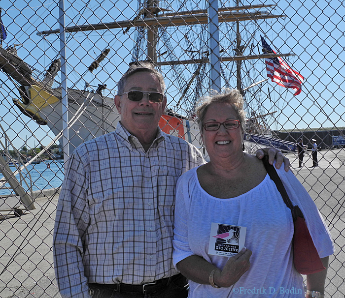 Chuck and Sharon are FOBs from Florida. Chuck is from Miami and Sharon is the Tallahassee Lassie. We photographed the Eagle entering Gloucester Harbor, and later then they represented in front of the ship.