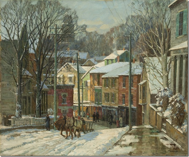 Frederick Mulhaupt, Winter In Gloucester, 36 x 30, oc Newcomb catalog front