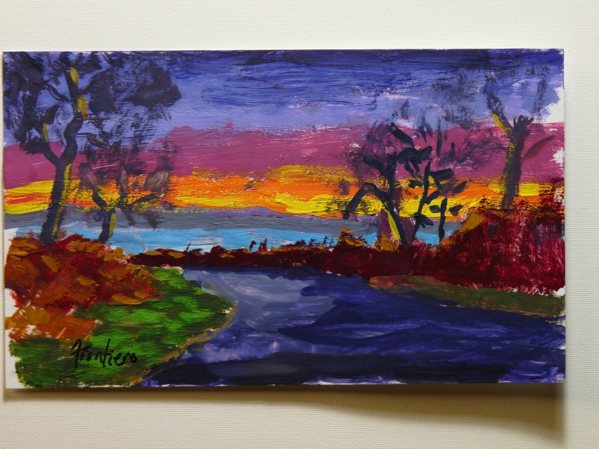"Maybe this painting I did of  ""Niles Pond Sunrise"" Using one of Sharon Lowes Photos."