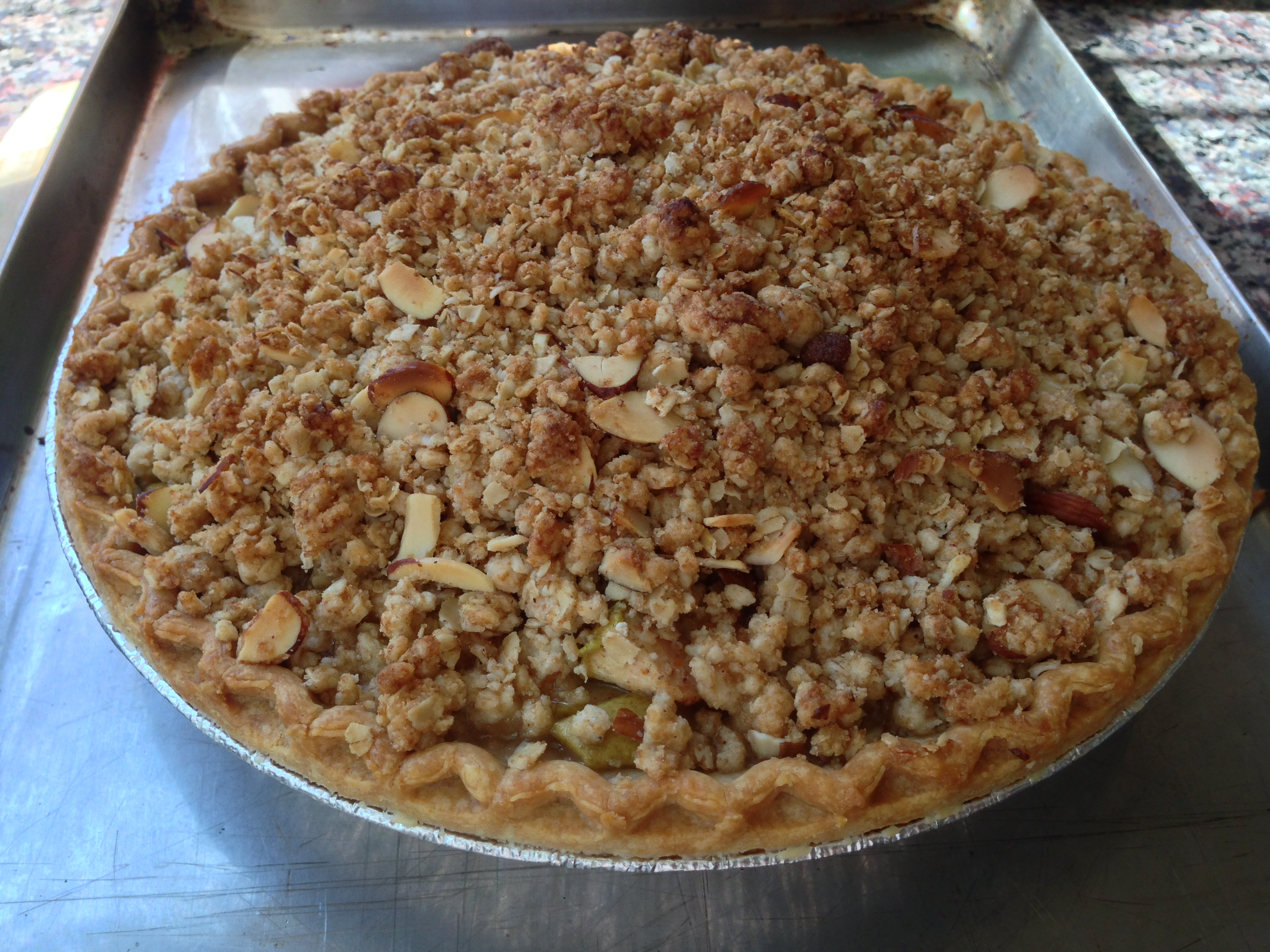 Cherry Pear Pie with Almond Crumble Topping & Maple Syrup Caramel ...
