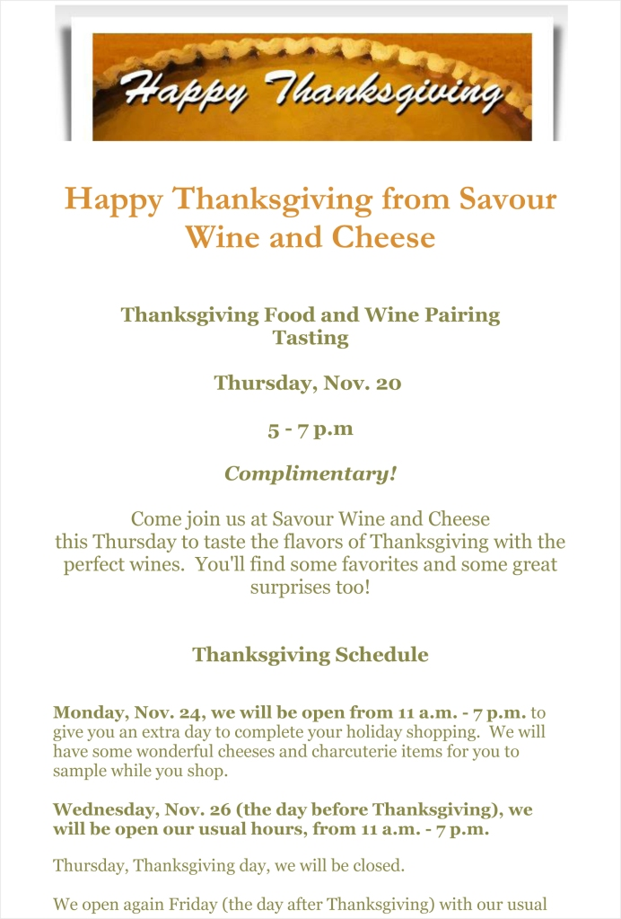 Happy Thanksgiving from Savour Wine and Cheese-1