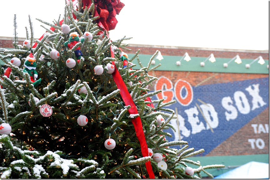 Boston, MA, December 1, 2012: The Boston Red Sox hosted the tenth annual Christmas at Fenway Park presented by Stop & Shop, which featured player and alumni meet and greets, a Fenway Winter Village set up in the Big Concourse, access for fans to the home clubhouse and warning track, and an LED Winter Lights musical projected on the Green Monster.  (Photo by Billie Weiss/Boston Red Sox)