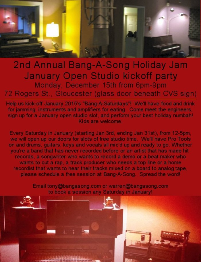 2nd Annual Bang A Song Holiday Jam and January Open Studios Flyer