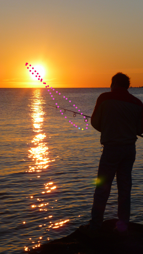 This is the analemma as seen from the Shores of Cape Ann. Our sunrise tomorrow is that little yellow ball at the bottom of the figure eight. The blue ball marks New Year's Day when we celebrate that the sun really has made the turn so we jump in the harbor.