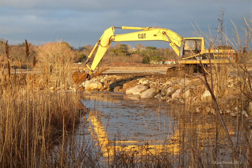 Niles Pond Brace Cove casueway restoration excavator -2 ©Kim Smith 2014.