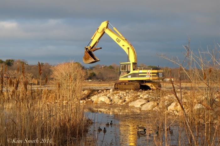 Niles Pond Brace Cove casueway restoration excavator ©Kim Smith 2014.