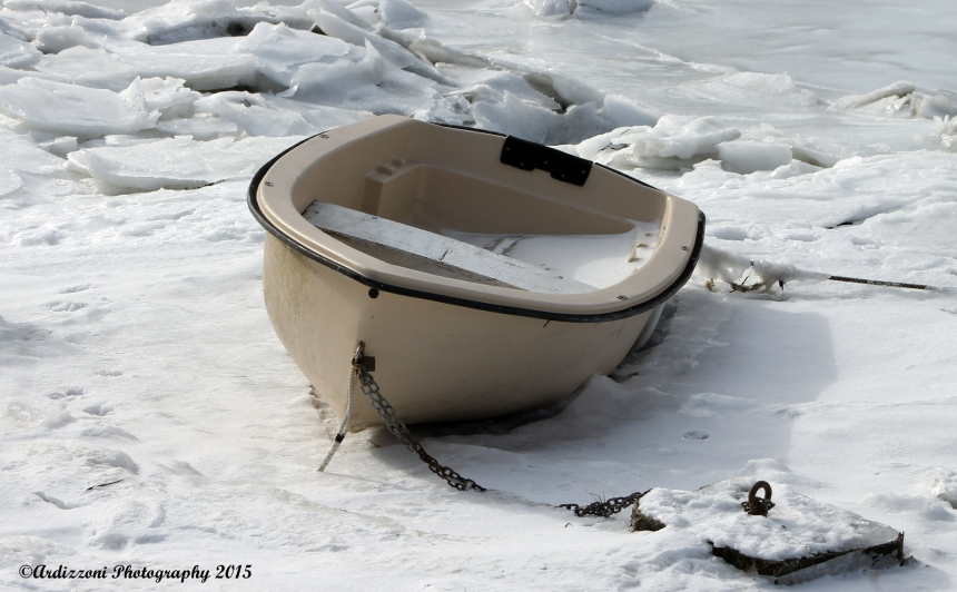 January 11, 2015 lone boat in the ice