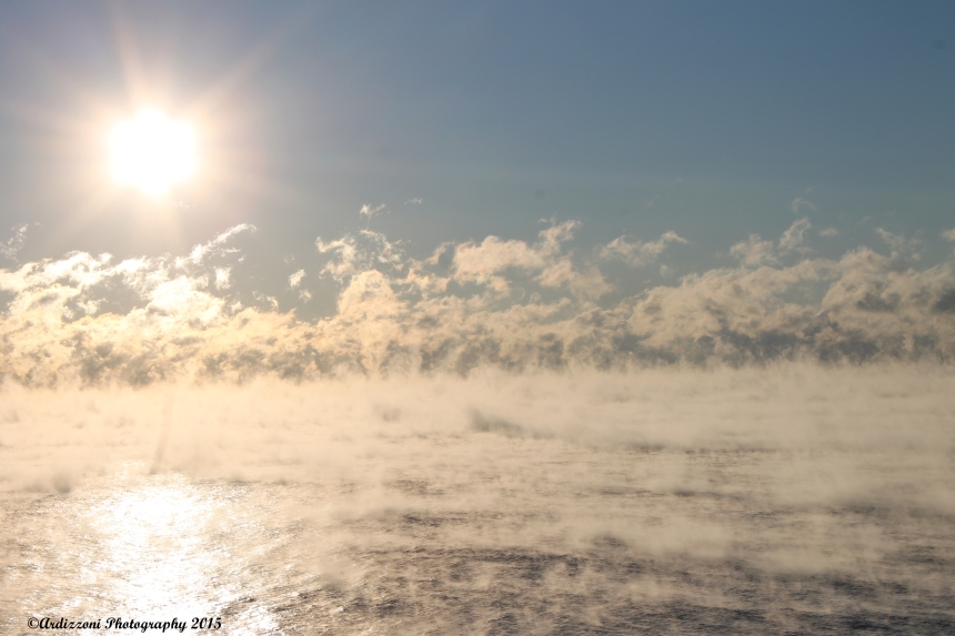 January 8, 2015 sea smoke as the sun is coming up