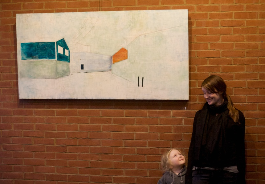 Artist Erin Luman and her daughter Hazel at the library