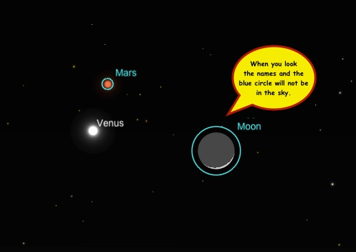 Look to the right of where the sun set and Venus will be blazing. Mars up and sliver of moon to the right.