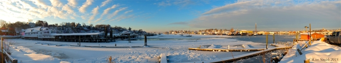 Gloucester Harbor Smith's Cove Panorama winter ©Kim Smith 2015