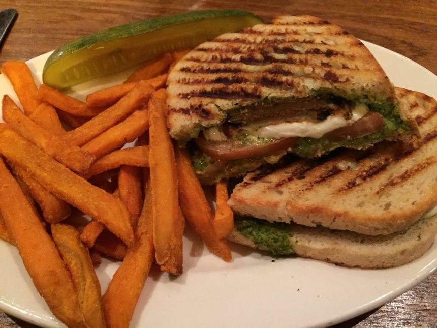 Eggplant Panini: Thinly sliced fried eggplant, fresh mozzarella, tomato and pesto grilled on buttery ciabatta bread 1