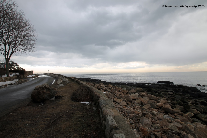 March 17, 2015 curve of Shore Road before the rain
