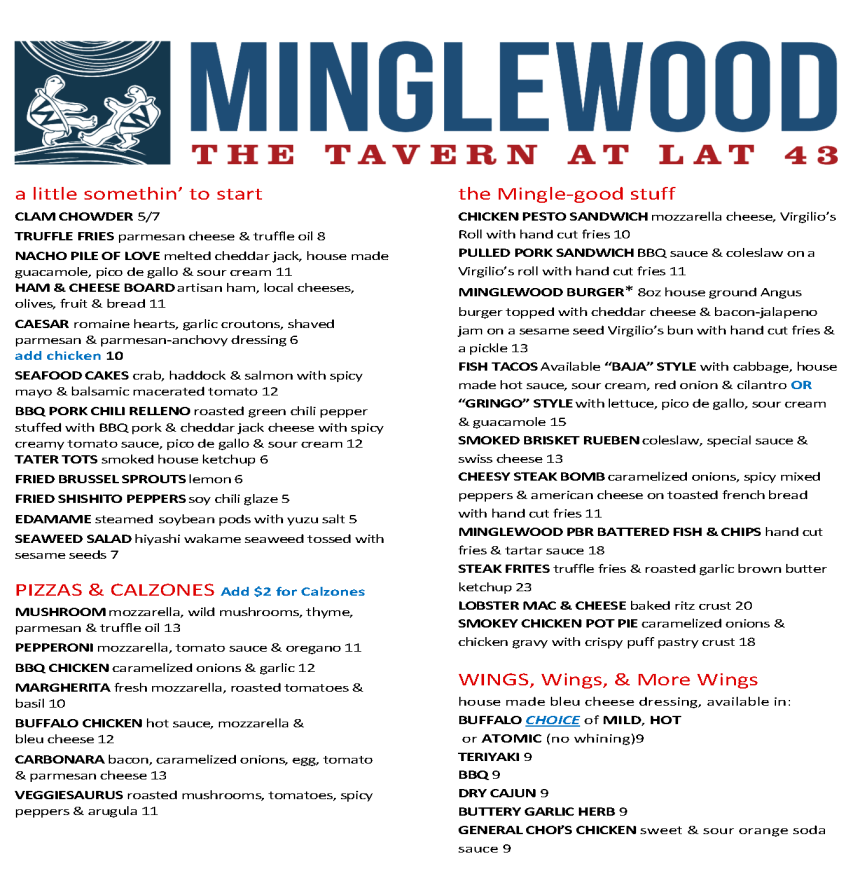 Minglewood lunch menu_2015