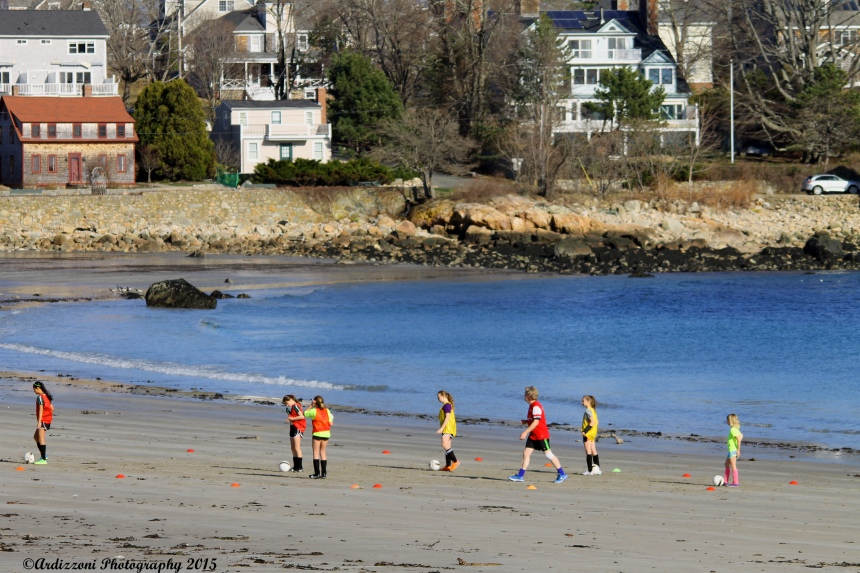 April 15, 2015 Soccer practice on Magnolia Beach