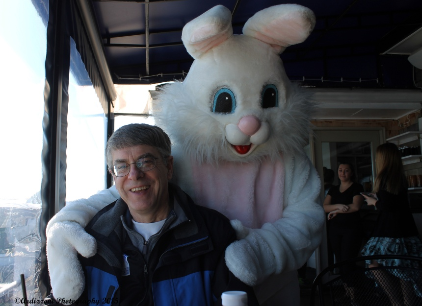 April 5, 2015 Rick and the Easter Bunny at Mile Marker