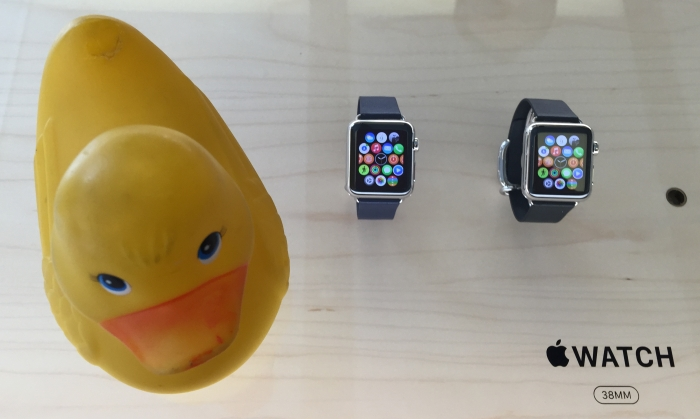 Rubber Duck swore up and down she was going to wait for iWatch vers2.0. but after viewing the watches in person she is lusting. Yesterday she wanted to be licked by Megan Fox, today she wants a watch.