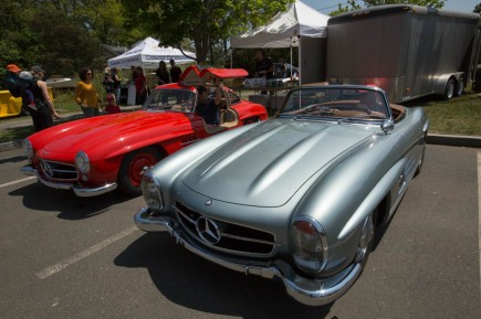 A roadster and a Gullwing