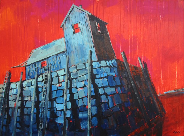 """grey barn, red sky"" 30"" x 40 "" acrylic on canvas by Adam O'Day"