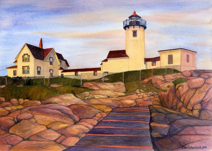 Eastern Point Lighthouse at the Golden Hour Deb Schradieck Watercolor, 19