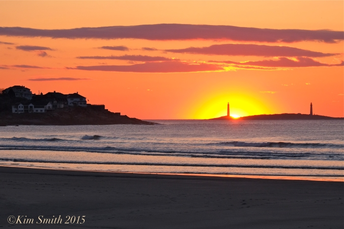 Twin Lights from Good Harbor Beach Sunrise -2 ©Kim Smith 2015