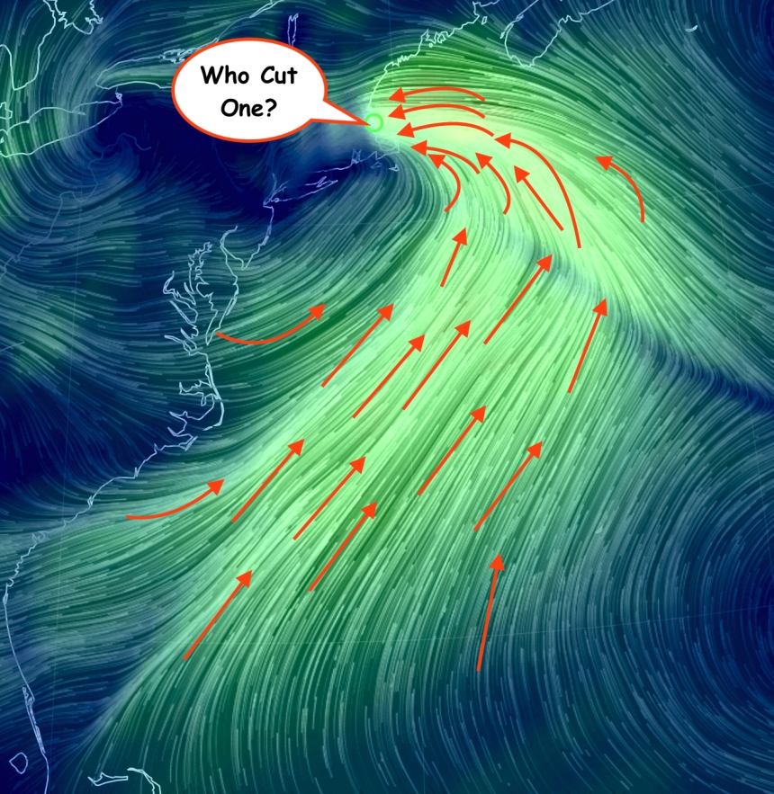 If you are wondering why the Seine boat Races and the Sunday Greasy Pole has been moved to Monday check the wind map out. Every single fart by a fish in the Atlantic Ocean is being funneled up and is powring into Cape Ann at about 30 mph.