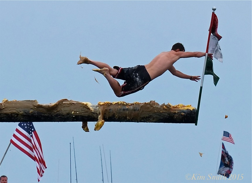 Joey Dasilva Saturday Greasy Pole Champion 2015 ©Kim Smith 2015