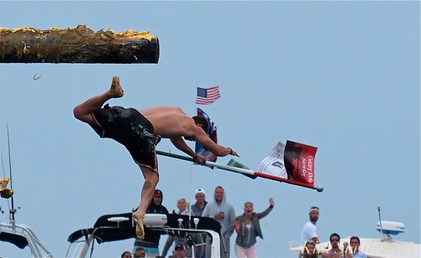 Joey Dasilva Saturday Greasy Pole Champion 2015 ©Kim Smith