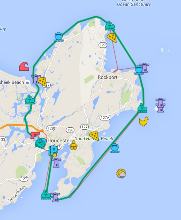 Click on the new updated GMG map of the race to find a good location for viewing the race. Hint: Go to Cape Ann, face water, watch racers go by left to right.