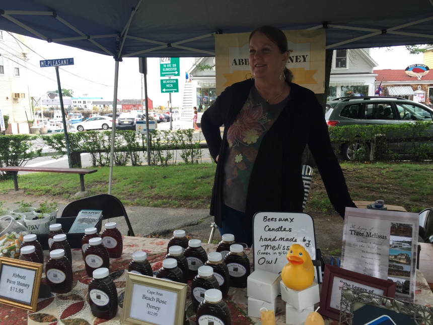 Melissa Abbott's bees made the honey but Melissa added the flowers of the rosa rugosa to make a special once in a lifetime specialty honey that will be gone soon so get on down to the market.