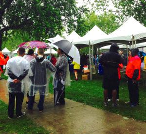 NSMC Cancer Walk 2015 Enthusiastic Wet Crowd