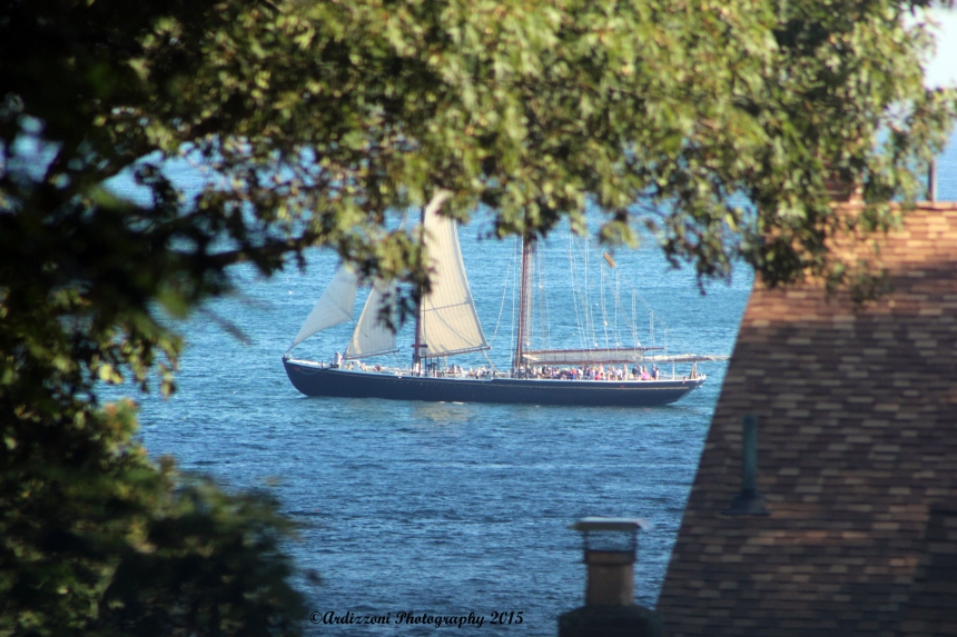 August 12, 2015 Schooner Adventure going by Strawberry Cove
