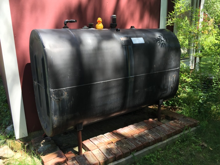 Oil tank soon to be pig roaster.