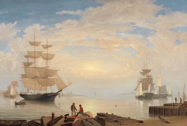 Fitz Henry Lane (1804–1865). Gloucester Harbor at Sunrise, c. 1850, oil on canvas. Gift of Lawrence Brooks, 1970. [Acc. #2020]