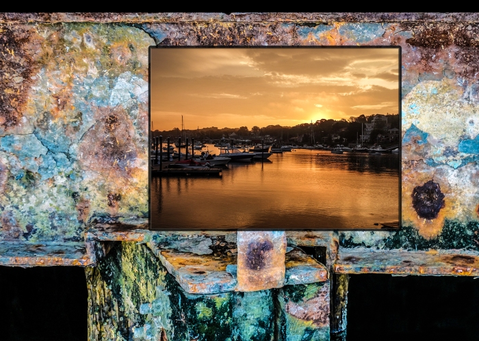 smith cove sunrise on rusted beam