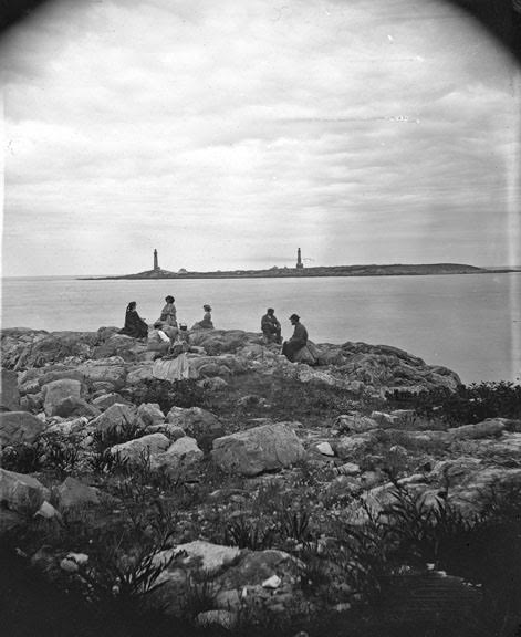 Twin Lights, Thatcher's Island from Brier Neck?  photo: John Heywood. c1864-6.  Benham Collection.